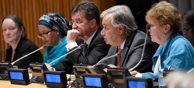 El secretario general de la ONU, António Guterres (segundo de la derecha) habla en la reunión de alto nivel sobre la Prevención de Abuso y Explotación Sexual. Crédito: Evan Schneider/UN Photo.