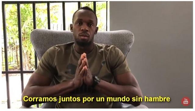 """Captura del videomensaje del jamaicano Usain Bolt, el hombre más rápido del mundo, a la Conferencia Regional de la FAO, pidiendo """"correr juntos por un mundo sin hambre"""". Crédito: FAO"""