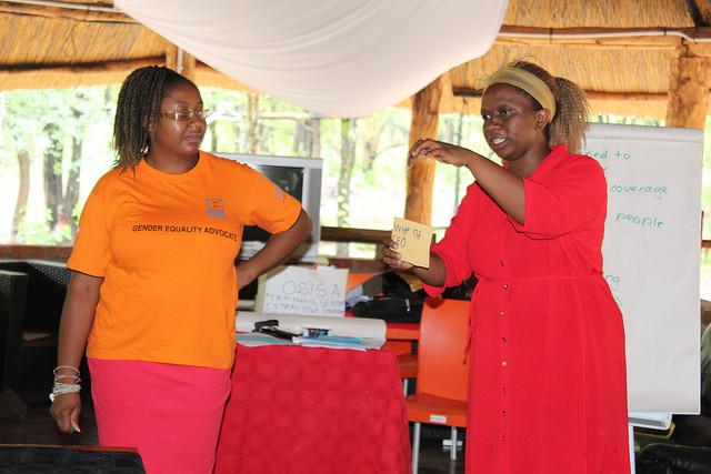 Dorcas Makaza-Kanyimo (izquierda), directora de Mujeres y Leyes en África Austral, participa en un taller sobre mujeres en la industira extractiva en Hwange, Zimbabwe. Crédito: Sally Nyakanyanga/IPS