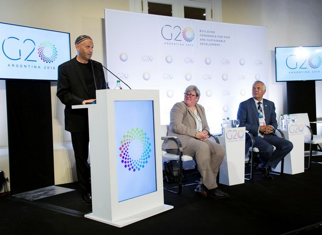 Sergio Bergman durante la apertura del Grupo de Trabajo de Sustentabilidad Climática del G20 que busca formular estrategias para alcanzar el objetivo del Acuerdo de París.