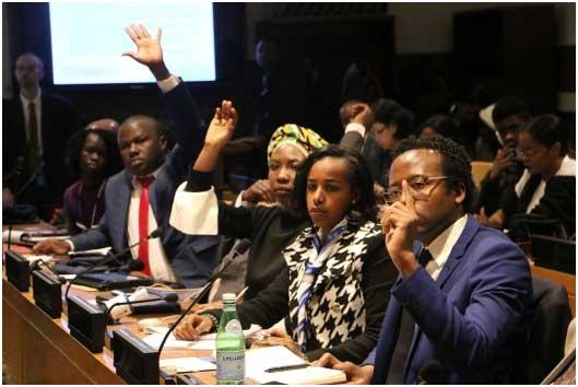 Jóvenes africanos participaron en un foro internacional de jóvenes en la sede de la Organización de las Naciones Unidas en Nueva York. Crédito: Africa Renewal/Shu Zhang.