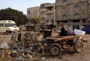 Una niña palestina en un carro tirado por un burro al lado de un contenedor de basura en la ciudad de Gaza, el territorio palestino ocupado por Israel. Crédito: Mohammed Omer/IPS.