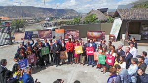 Parte de los ministros, autoridades y representantes internacionales que participaron en la celebración del Día Mundial de Lucha contra la Desertificación, el 17 de junio, en la Ciudad de la Mitad del Mundo, en Ecuador, el primer país en hospedar esta conmemoración anual. Crédito: Ela Zambrano/IPS