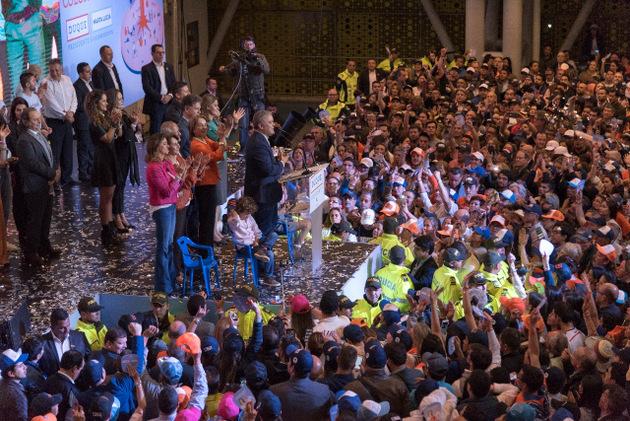 Iván Duque celebra la noche del domingo 17 con su partidarios su triunfo en la segunda vuelta de las elecciones presidenciales, que lo llevarán al poder a partir del 7 de agosto. Crédito: Centro Democrático
