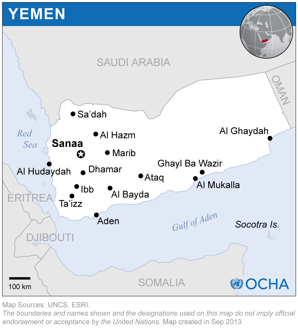 La coalición encabezada por Arabia Saudita impide el ingreso de suministros humanitarios, como alimentos, combustible y medicamentos. Además, los rebeldes hutíes frenan la distribución de lo que logra ingresar, señala un estudio de Amnistía Internacional. Crédito: OCHA.