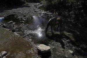 Un hombre descansa en la grupa de un caballo, mientras este bebe agua en un arroyo casi seco, próximo al caserío de Palenque, en el municipio de Yateras en la oriental provincia de Guantánamo, una de las más afectadas por la larga sequía que afectó a Cuba entre 2014 y 2017. Crédito: Jorge Luis Baños/IPS