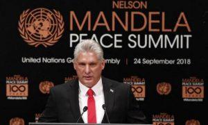 El presidente de Cuba, Miguel Díaz-Canel, durante su estreno en las Naciones Unidas, el 24 de septiembre, durante la Cumbre de Paz Nelson Mandela, en el preámbulo de la 73 Asamblea General del Foro Mundial. Crédito: Telesur