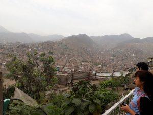 Desde el Grupo Familiar 24 de Junio, en sector más empinado de un populoso municipio de los suburbios de Lima, se observan los pequeños huertos comunitarios a cargo de las familias de la zona, que crearon esta comunidad tras migrar en su mayoría de regiones andinas de Perú. Su conocimiento tradicional de prácticas agrícolas contribuye a sostener la experiencia comunitaria. Crédito: Mariela Jara/IPS