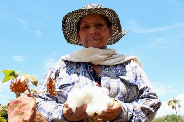 Nelsy Romero, productora de algodón en el departamento de Tolima, en Colombia. Crédito: Aurelie Duray/FAO
