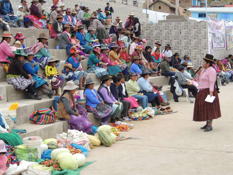 Yolanda Flores, una indígena aymara, habla a otras mujeres dedicadas a la pequeña agricultura, congregadas en la plaza de su aldea, en las alturas del sur andino de Perú. Ella está convencida de que participar en los espacios locales de decisión es fundamental para las mujeres rurales salgan de la invisibilidad y se reconozcan sus derechos. Crédito: Cortesía de Yolanda Flores