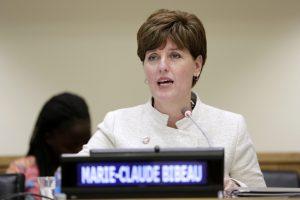 Ministra de Desarrollo Internacional de Canadá, Marie-Claire Bribeau, gran defensora de elevar los fondos para el desarrollo. Crédito: Cortesía Ryan Brown/ONU Mujeres.