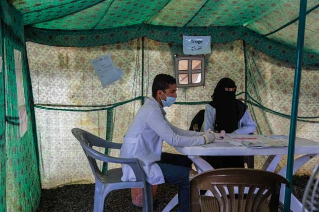 Tents set up at Alsabeen hospital in Sana'a Yemen for screening suspected cholera cases.