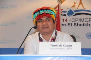 """Alrededor de """"65 por ciento de las tierras del mundo son territorios indígenas, pero solo 10 por ciento les pertenecen legalmente"""", observó Tuntiak Katan, vicepresidente de COICA."""