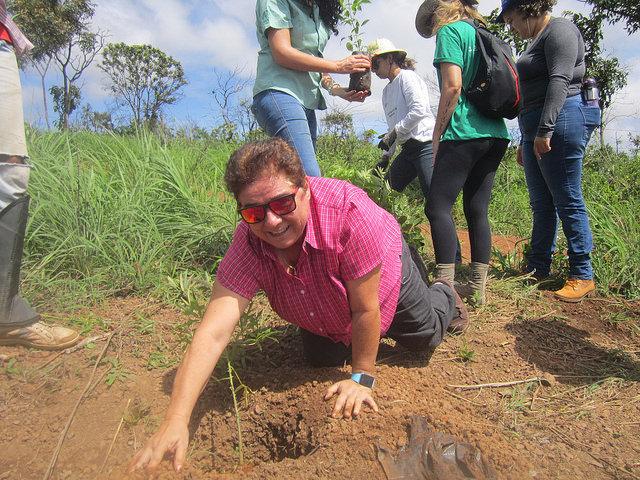 """La jubilada Elizabeth Ribeiro planta el primer árbol de su vida, una especie de papaya silvestre, en una finca a unos 50 kilómetros de Brasilia. Plántulas donadas durante el Foro Mundial del Agua, realizado en la capital de Brasil en marzo, se sembraron en la cuenca del río Pipiripau para """"producir agua"""", que abastece a dos ciudades cercanas. Crédito: Mario Osava/IPS"""