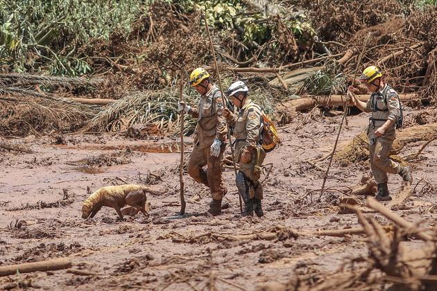 Parte de uno de los equipos de rescate el lunes 28 de enero, en la localidad brasileña de Brumadinho, donde la rotura de un dique en una balsa de residuos mineros provocó una nueva tragedia humana y ambiental en Brasil. Crédito: Ricardo Tucker/Fotos Públicas