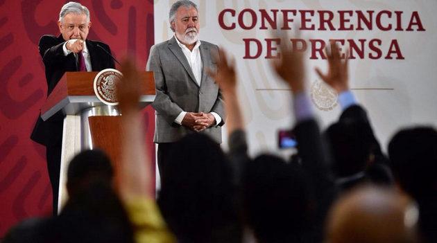 El presidente de México, Andrés Manuel López Obrador, durante su conferencia de prensa el 25 de marzo. Crédito: Presidencia de México