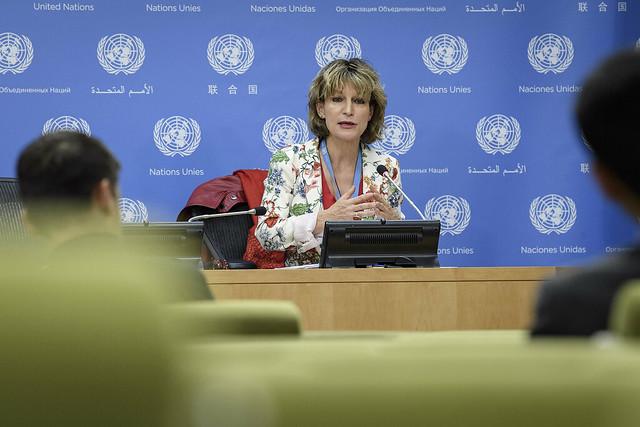 """La relatora especial de las Naciones Unidas sobre ejecuciones extrajudiciales, sumarias o arbitrarias, Agnes Callamard, informó al Consejo de Derechos Humanos que su investigación determinó que Arabia Saudita es """"responsable"""" del asesinato """"extrajudicial"""" del columnista Jamal Khashoggi. Crédito: Manuel Elias/Acnudh"""