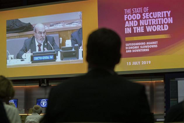 """El director general de la FAO, José Graziano da Silva, participa el lunes 15 desde Roma en el lanzamiento conjunto de cinco agencias de las Naciones Unidas del informe """"El estado de la seguridad alimentaria y la nutrición en el mundo 2019"""". Crédito: FAO"""