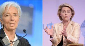 La francesa Christine Lagarde (I) y la alemana Ursula von der Leyen, designadas como próximas presidentas del Banco Central Europeo (BCE) y de la Comisión Europea, el gobierno de la Unión Europea. Crédito: Telesur