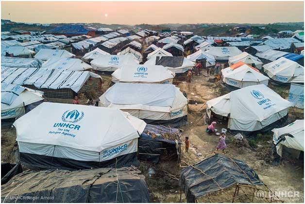 Uno de los campos de refugiados desplegados por Acnur en el mundo. Crédito: Acnur