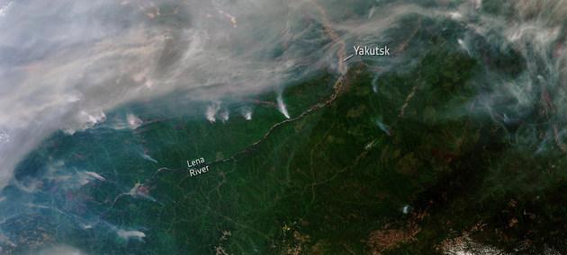 Cientos de incendios forestales se han desatado en Siberia. Algunos se pueden ver desde el espacio, como se ve en esta imagen de satélite. Crédito: ESA