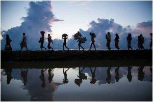 Un grupo de personas africanas huye de su lugar de origen en medio de un conflicto. Crédito: Acnur