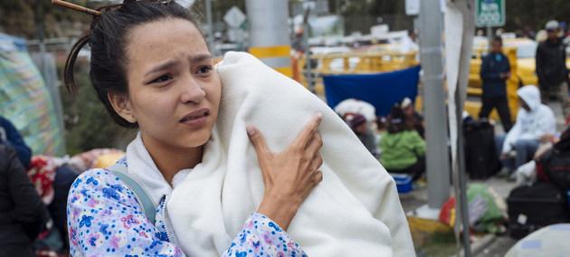 Una madre venezolana de 21 años migra sola con su hijo de 3 meses. Crédito: Unicef