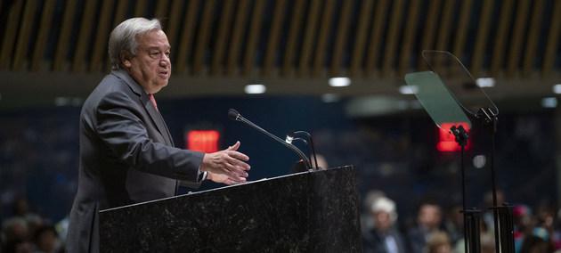 El secretario general de la ONU, António Guterres, presenta su informe anual sobre la labor de la Organización antes de la apertura del 74 Debate General de la Asamblea General. Crédito: Cia Pak/ONU