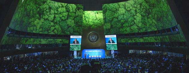 Una vista general de la Asamblea General durante la apertura de la Cumbre sobre la Acción Climática. Crédito: Loey Felipe/ONU