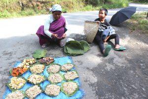 Phlida Kharshala, una indígena khasi del estado nororiental indio de Meghalaya, vende hongos en las afueras de la ciudad de Shillong, con su nieto de 8 años al lado. Ella recolecta y vende diferentes productos silvestres en los bosques, que va cambiando con las estaciones. Crédito: Manipadma Jena / IPS