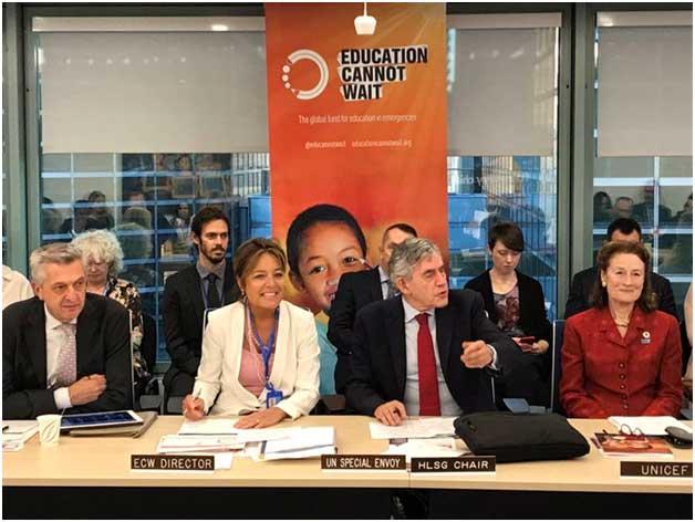 """Filippo Grandi, alto comisionado de las Naciones Unidas para los Refugiados, Yasmine Sherif, directora ejecutiva del fondo """"La educación no puede esperar"""", Gordon Brown, enviado especial de las Naciones Unidas para la Educación Mundial, y Henrietta Fore, directora ejecutiva de Unicef. Crédito: Kent Page/ECW"""