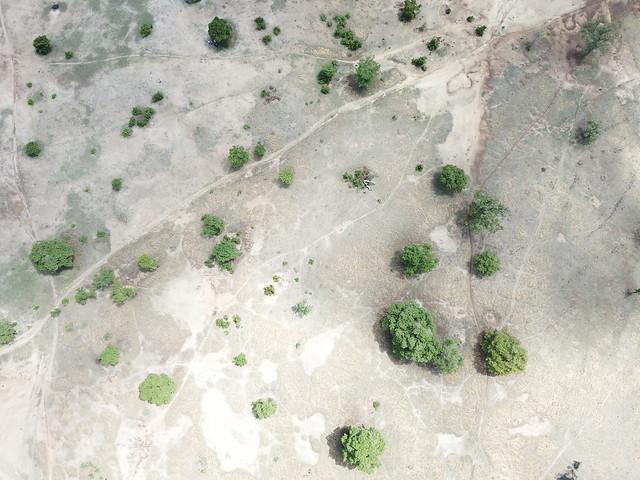 Imagen aérea de una zona de la región del Alto Este, en Ghana, antes de la restauración de la tierra degradada. Los expertos dicen que los jóvenes de África deben involucrarse en proyectos de recuperación de los suelos para que estos tengan éxito. Crédito: Albert Oppong-Ansah / IPS