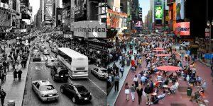 Una recreación de cómo podría transformarse la emblemática Times Square, en Nueva York, dentro de las ideas de urbanismo reversible a la que los especialistas convocan para la pospandemia. Foto: PaisajeTransversal.org