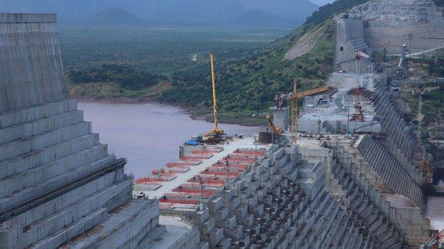 Vista de la construcción sobre el río Nilo del Gran Embalse Etíope del Renacimiento, conocido como GERD. Foto: Ministerio de Asuntos Exteriores de Etiopía