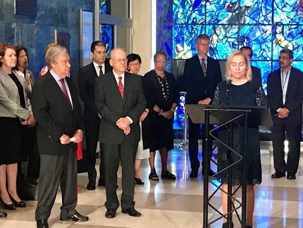 Acto del personal en la sede de las Naciones Unidas en Nueva York, con la participación del secretario general, António Guterres. Las reuniones presenciales de este tipo llevan meses sin producirse. Foto: ONU