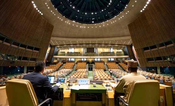 La 75 Asamblea General de las Naciones Unidas sesionará en un hemiciclo vacío, donde los discursos serán mediante mensajes grabados…con la excepción del presidente estadounidense Donald Trump, que por ahora se anuncia que quiere hablar en persona. Foto: ONU