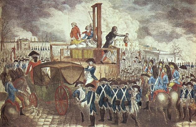 Ejecución de Luis XVI (1793). Imagen: Wikimedia Commons