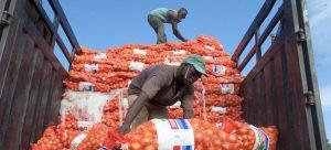 Trabajadores acarrean sacos con cebollas en Malí, uno de los países africanos a los que la falta de litoral agrega costos para exportar productos y obtener ingresos para sus poblaciones, las que registran altos índices de pobreza. Foto: Dominic Chávez/BM