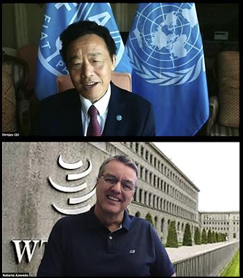Un distendido Roberto Azevêdo se despide por videoconferencia, en la entrada del edificio de la OMC en Ginebra, de su colega de la FAO, Qu Dongyu, en vísperas de abandonar su puesto de director general, el 31 de agosto. Foto: FAO