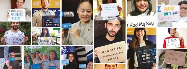 """""""Yo tenía mi opinión"""", rezan carteles de jóvenes durante un encuentro virtual sobre """"El futuro que queremos"""" para la ONU. Captura: Naciones Unidas"""