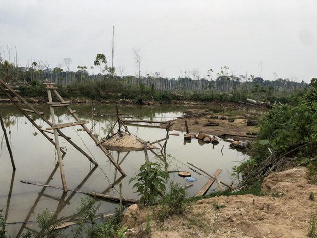Estanque artificial creado cuando la lluvia llenó un pozo abandonado de extracción de oro en la Amazonia peruana. Foto: Melissa Marchese, Universidad de Duke/EurekAlert