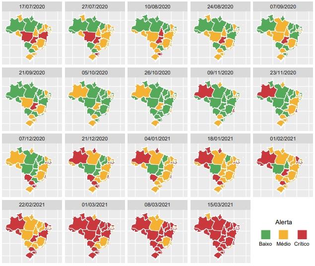 Mapas de Brasil en una secuencia que muestra cómo evolucionó la disponibilidad de unidades de cuidados intensivos en los 26 estados brasileños desde julio de 2020. El rojo señala la situación crítica en que hay déficit de unidades. Imagen: Fiocruz