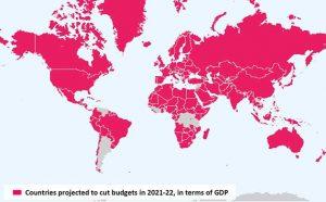 Mapa de los países que en los que se proyectan recortes de austeridad en 2021-2022, en términos del PIB, basado en las proyecciones fiscales del FMI. Imagen: I. Ortiz y M. Cummins, 2021