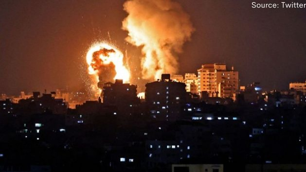 Ataque israelí contra Gaza la noche del 11 de mayo. Foto: Ho Han/ Flickr-Twitter