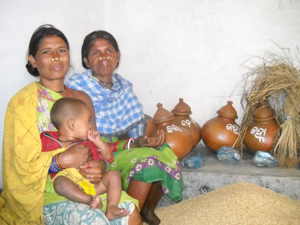 Mujeres indígenas se han convertido en custodias de las semillas patrimoniales de arroz. En la imagen, un grupo de ellas posa en el banco de semillas de su aldea en, el distrito de Koraput de Odisha, en el este de India. Foto: Manipadma Jena / IPS